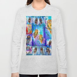 Owl with Bright Colors Long Sleeve T-shirt