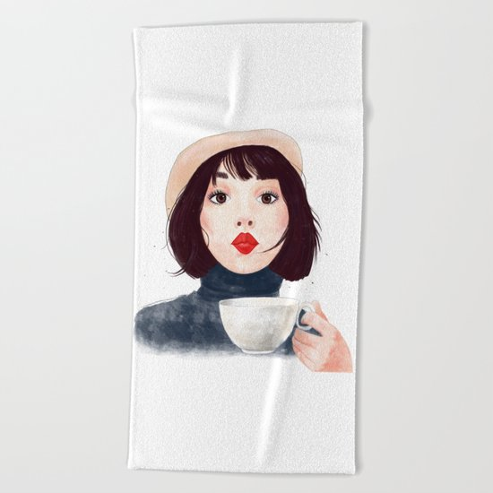 French woman with coffee Beach Towel