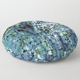 Blue Green Abstract Geometric Low Poly Modern Art Floor Pillow