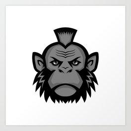 Chimpanzee Wearing Mohawk Mascot Art Print
