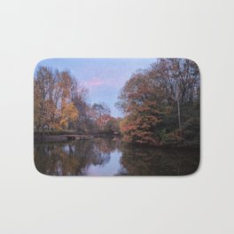 Autumn Reflections on a Quiet Pond Bath Mat