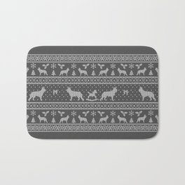 Ugly christmas sweater | German shepherd grey Bath Mat