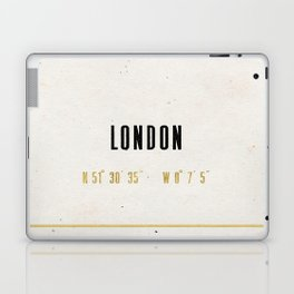 Vintage London Gold Foil Location Coordinates with map Laptop & iPad Skin
