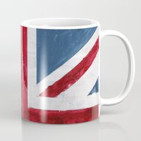 union jack Mugs featuring Union Jack by Renato Verzaro