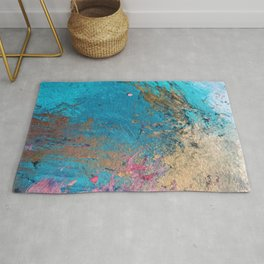 Coral Reef [2]: colorful abstract in blue, teal, gold, and pink Rug