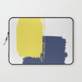 Calm & Happy Abstract Painting Yellow Blue Laptop Sleeve