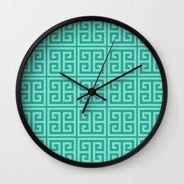 Mermaid Blue Greek Key Pattern Wall Clock