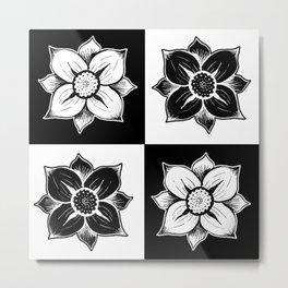 Flowers (Black & White) Metal Print