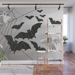 Ghosts and Bats Spiderweb Halloween Wall Mural