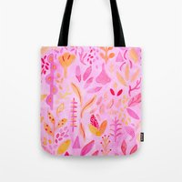 flora Tote Bags featuring Flora by messy bed studio