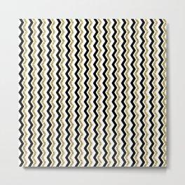 Black Gold White ZigZag Pattern 1 Metal Print