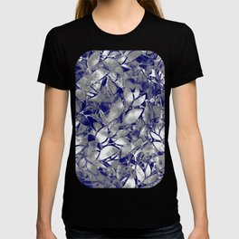 Grunge Art Silver Floral Abstract G169 T-shirt