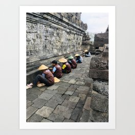 Restauration Workers on the Borobudur | Travel photography Indonesia | Adventure in Asia Art Print