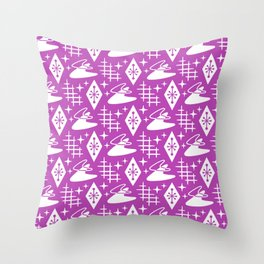 Mid Century Modern Boomerang Abstract Pattern Magenta Throw Pillow