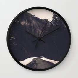 Foggy Forest Road - Lets Get Wild Nature Photography Wall Clock