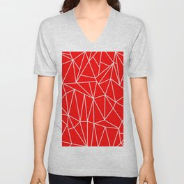 Geometric Cobweb (White & Red Pattern) Unisex V-Neck