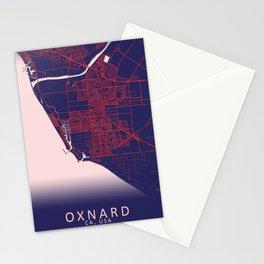 Oxnard, CA, USA, Blue, White, City, Map Stationery Cards