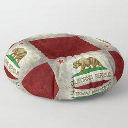 Californian flag the Bear flag in retro grunge Floor Pillow