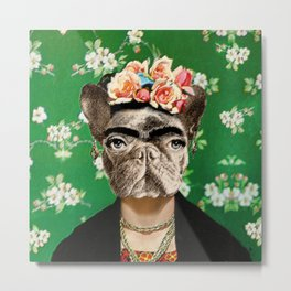 Frida Katy FrenchBulldog Metal Print