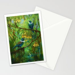 Tuis in the Kowhai Stationery Cards