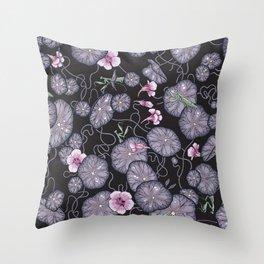 Black Indian cress garden. Throw Pillow