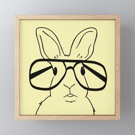 Easter Bunny With Glasses On Yellow Background Framed Mini Art Print