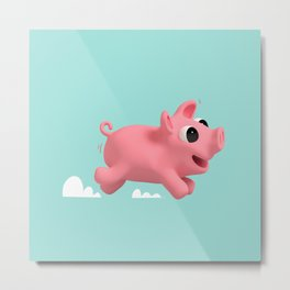 Rosa the Pig running Metal Print