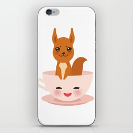 Cute Kawai pink cup with red squirrel iPhone Skin