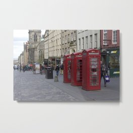 Telephone Booths Royal Mile Edinburgh Metal Print
