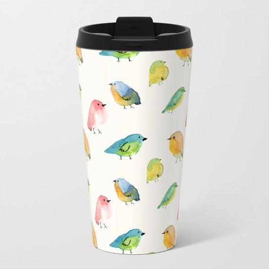 Watercolor Birds Pattern Metal Travel Mug