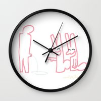 rabbits Wall Clocks featuring Rabbits by wof!