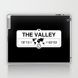 The Valley Anguilla GPS Coordinates Map Artwork with Compass Laptop & iPad Skin