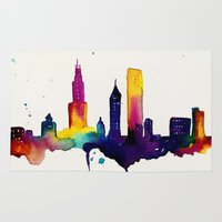 chicago map Area & Throw Rugs featuring Chicago  by Talula Christian