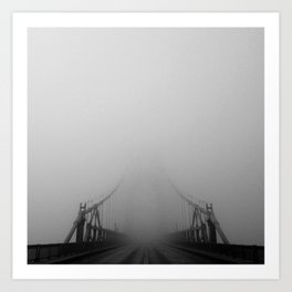 St Johns Bridge in Fog 1, Portland, Oregon Art Print
