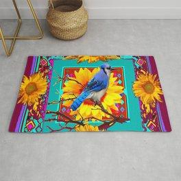 Decorative Ornate  Burgundy-Blue Jay Sunflowers Rug