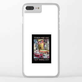 Times Square II (widescreen on black) Clear iPhone Case