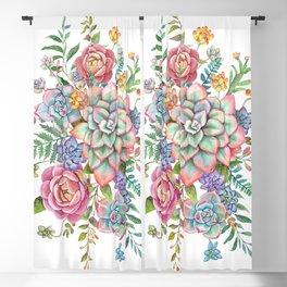 Watercolor Succulent #40 Blackout Curtain