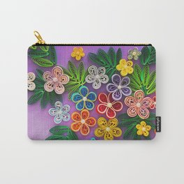 Vivid multicolour quilled flowers on lavender purple background Carry-All Pouch