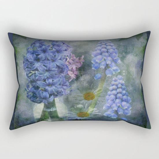 Painterly spring flowers on a grunge background Rectangular Pillow
