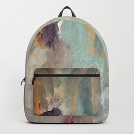 Gentle Beauty [4] - an elegant acrylic piece in deep purple, red, gold, and white Backpack