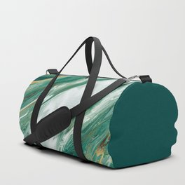 Emerald Jade Green Gold Accented Painted Marble Duffle Bag