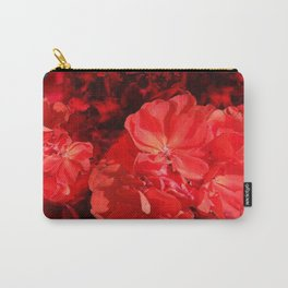 Decorative Red Geraniums On Grey Carry-All Pouch