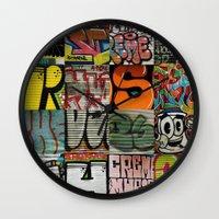 grafitti Wall Clocks featuring grafitti collage by laika in cosmos