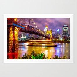An Evening on the Ohio River - Cincinnati Ohio Art Print