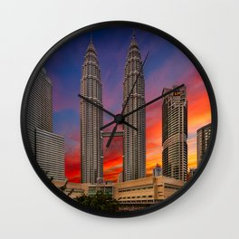 Petronas Towers Sunset Wall Clock