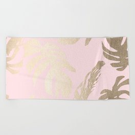 Simply Tropical Palm Leaves White Gold Sands on Flamingo Pink Beach Towel