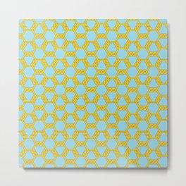 Pastel Gold-Blue Freeman Lattice Metal Print