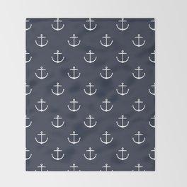 Yacht style. Anchor. Navy blue. Throw Blanket