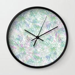 Pastel pink lavender green watercolor tropical leaves Wall Clock