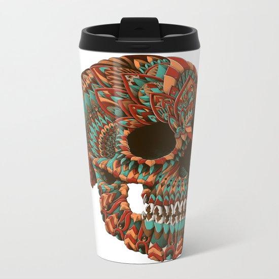 Ornate Skull (Color Version) Metal Travel Mug